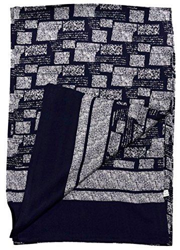 Foulard en soie double couche d'impression marine gris carré abstrait blanc