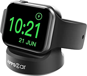 APPS2Car Watch Charger Stand for Apple Watch Series SE/6/5/4/3/2/1(44mm,42mm, 40mm, 38mm), Non-Skid Silicone Watch Charger Dock for Apple Watch Stand Support Nightstand Mode