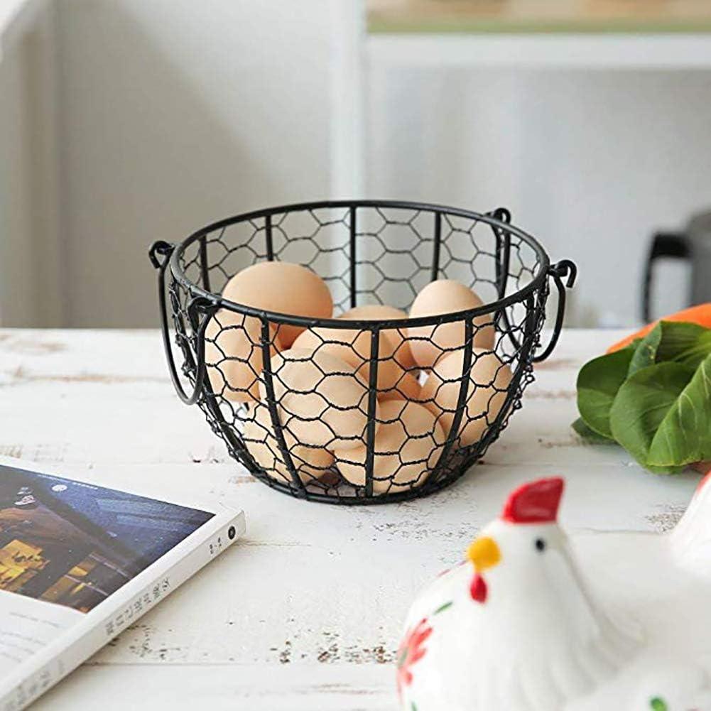 GAOLONG Metall-Ei-Speicher-Korb mit Bauernhof-Huhn Top und Griffe Storage Tool f/ür Obst und Gem/üse,A