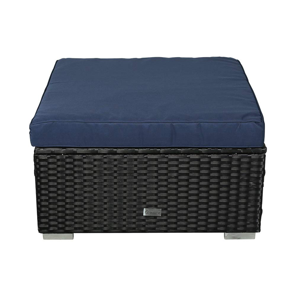 eclife Patio Foot Stool Outdoor Rattan Sofa PE Wicker Black Sofa Couch Furniture Removable Cushions Ottoman (1PC Dark Blue)