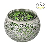 Marrakech Handmade Mosaic Glass Candle holders with tiny mirror shards set of 2 (Green)