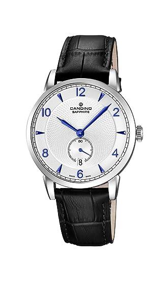 Candino - Reloj con Mecanismo de Cuarzo para Hombre Color Blanco Esfera analógica Pantalla y Correa de Cuero Negro C4591/2: Amazon.es: Relojes