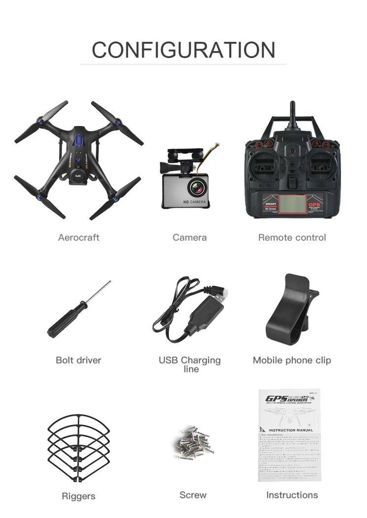 Gbell X183S 5G Drone with 1080P HD Camera WiFi FPV 6-Axis Gyro GPS Drone LED Follow Me - Large RC Quadcopter - Best Birthday New Year Gifts for Boys Girls Kids Adults,Black White (Black) by Gbell (Image #8)