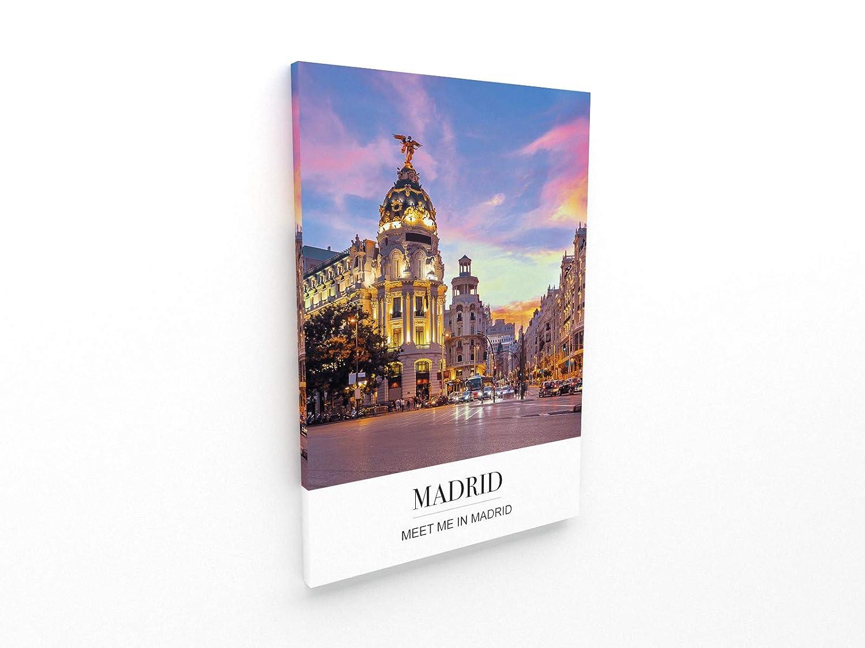 D/écoration Murale Vintage Panorama/® Poster Coucher du Phrase Ville de Madrid 21 x 30 cm Poster Moderne pour la Maison Poster Ville Photos Imprim/ée sur Poster de Grande qualit/é
