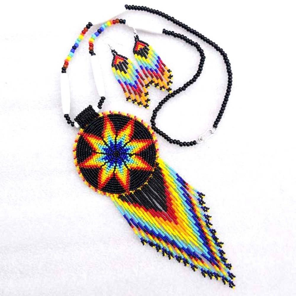 La Vivia Women's Black Fire Seed Beaded Necklace Earrings Star S-53-SB-8 Multicolor