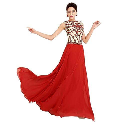 Molly Mujeres Elegante Rebordeó El Vestido Largo Vestido De Noche 3XL Rojo