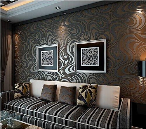 QIHANG Moderne Luxus Abstrakte Kurve 3d Tapete Rolle Beflockung für Striped Schwarz Braun Farbe 0.7m * 8.4m = 5.88㎡