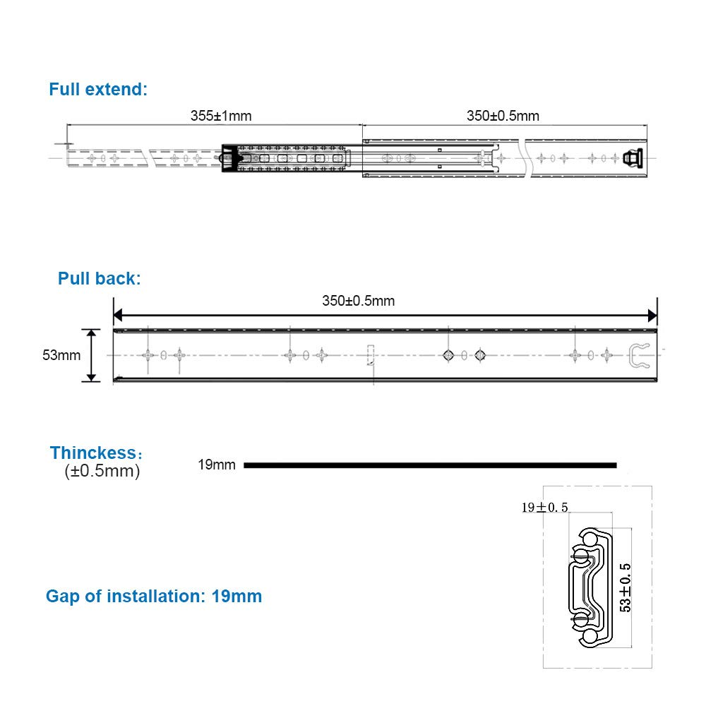 2 St/ück 1 Paar Schwerlast schubladenschienen vollauszug 850 mm 80 Kg Tragkraft Schubladenschiene Schwerlast Teleskopschiene