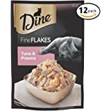 DINE Fine Flakes Tuna and Prawns Wet Cat Food 35g Pouch 12 Pack
