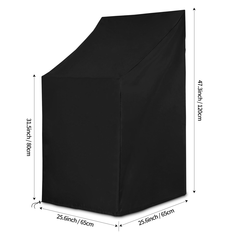 Resistente al Viento Anti-UV 420D Oxford Funda Protectora para Sillas Apiladas Exterior Impermeable - Negro 65x65x80//120cm Resistente al Polvo Dokon Funda para Sillas Apilables de jard/ín