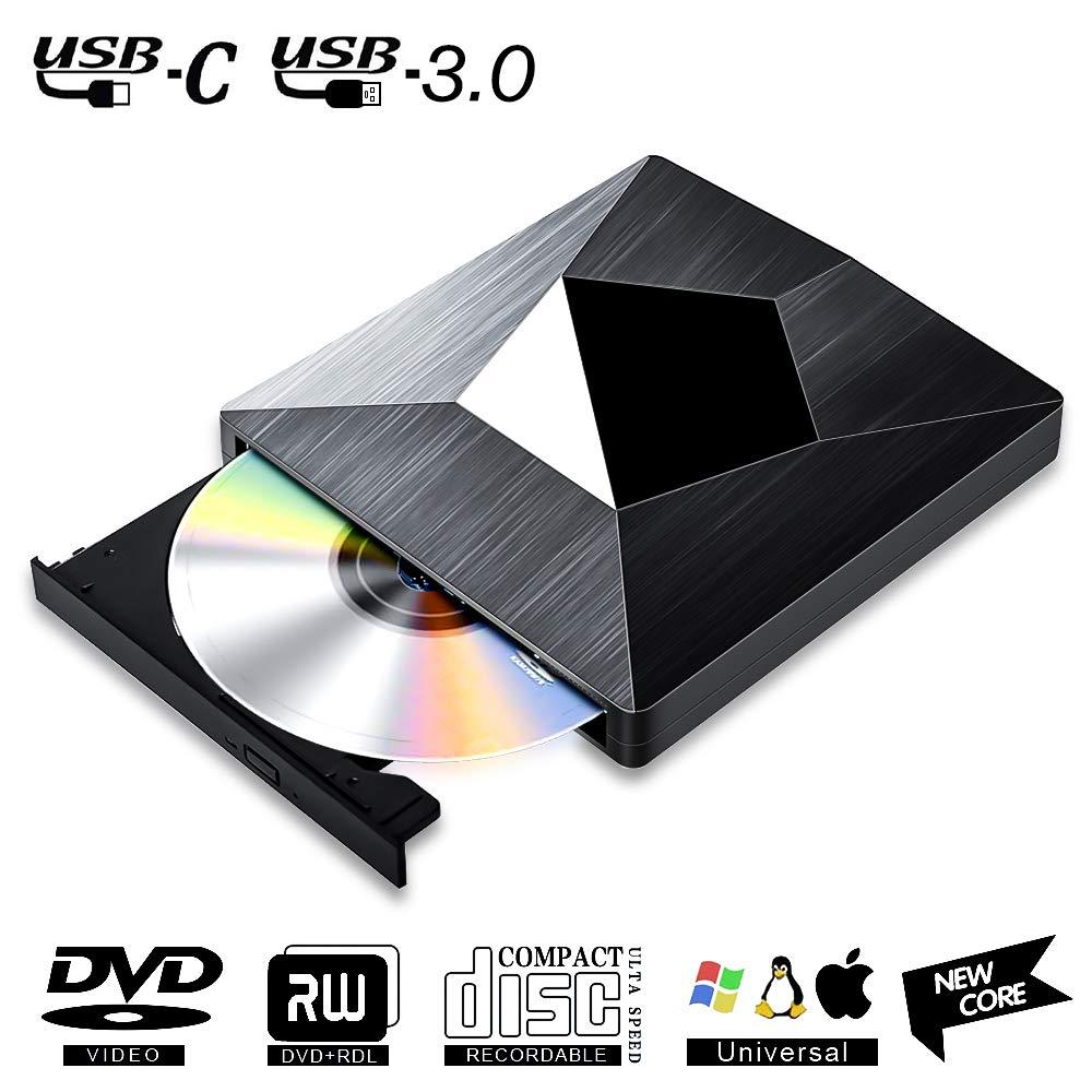 Lector CD DVD Externo USB 3.0 con Type C,PIAEK Lector Grabadora Unidad Reproductor de DVD CD Portátil CD-RW/DVD-RW CD RW Row Rewriter Burner para ...