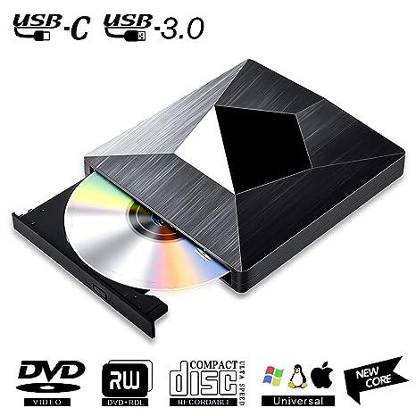 Lector CD DVD Externo USB 3.0 con Type C,PIAEK Lector Grabadora Unidad Reproductor de