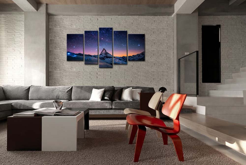 ... Painting Starry Night Sky Over The Mountains Prints On Canvas The  Picture Landscape Pictures Oil For Home Modern Decoration Print Decor For  Living Room: ...