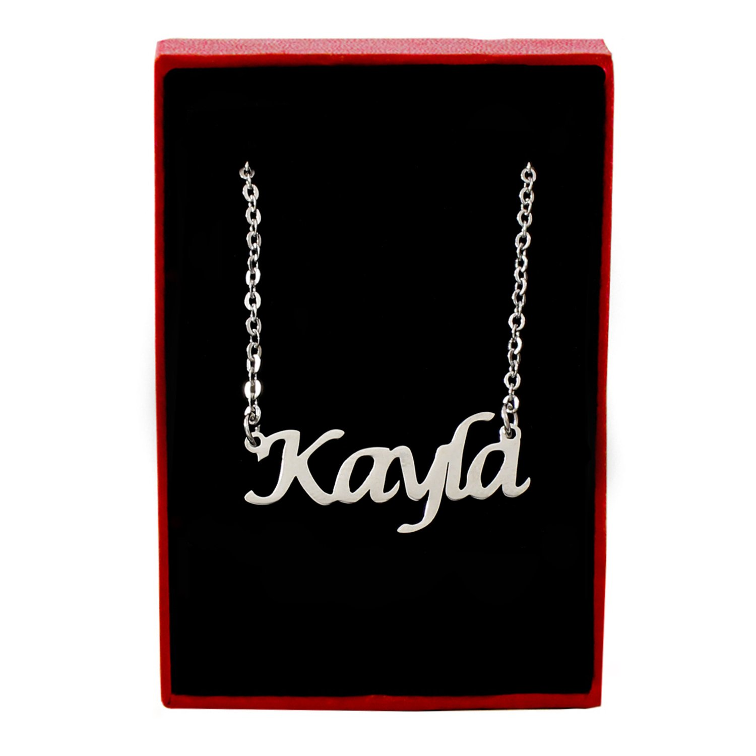 Kayla Silver Tone Name Necklace