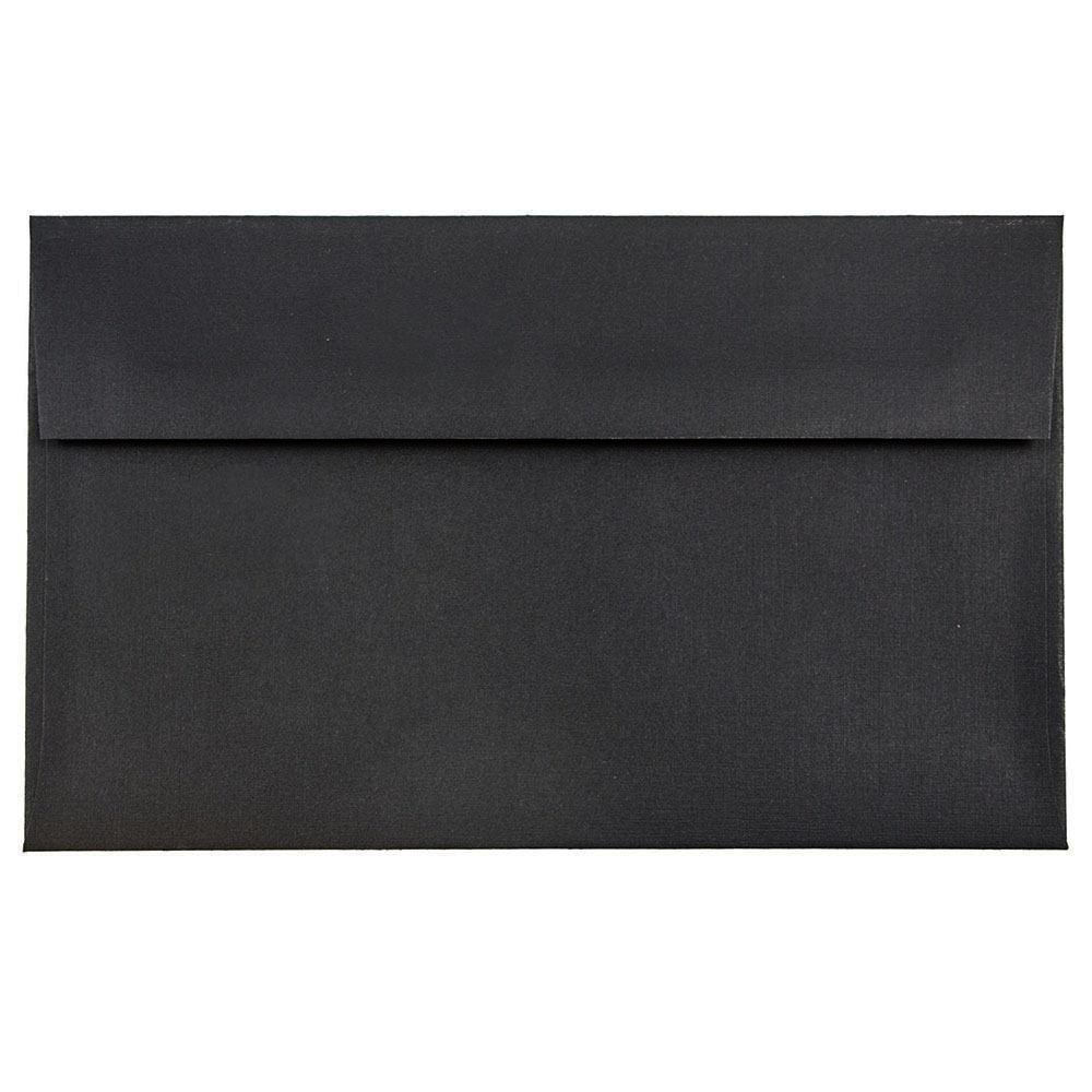 JAM Paper #10 Business Envelope - 104.9 x 241.3 mm (4 1/8 x 9 1/2) - Black Linen - 50/pack