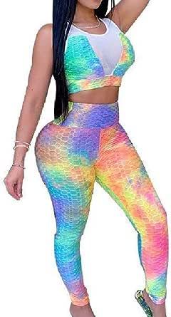 WUFAN Women's Fitted Slim 2 Piece Set Active All Over Tie-Dye Sleeveless Sportswear