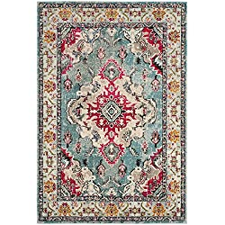 "Safavieh Monaco Collection MNC243J Vintage Bohemian Light Blue and Fuchsia Distressed Area Rug (2'2"" x 4')"