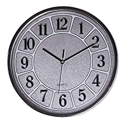 Smarten Arts Luxurious Silent Wall Clock Non-Ticking 12 Inches Quartz Battery Operated Decor Wall Clock Silver Large Number Easy to Ready for Home School Hotel Office