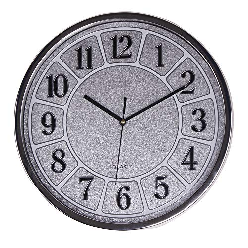Smarten Arts Luxurious Silent Wall Clock Non-Ticking 12 Inches Quartz Battery Operated Decor Wall Clock Silver Large Number Easy to Ready for Home School Hotel Office (Best Place To Put A Grandfather Clock)