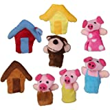Set of 8pcs Plush Finger Puppets Story the 3 Little Pigs