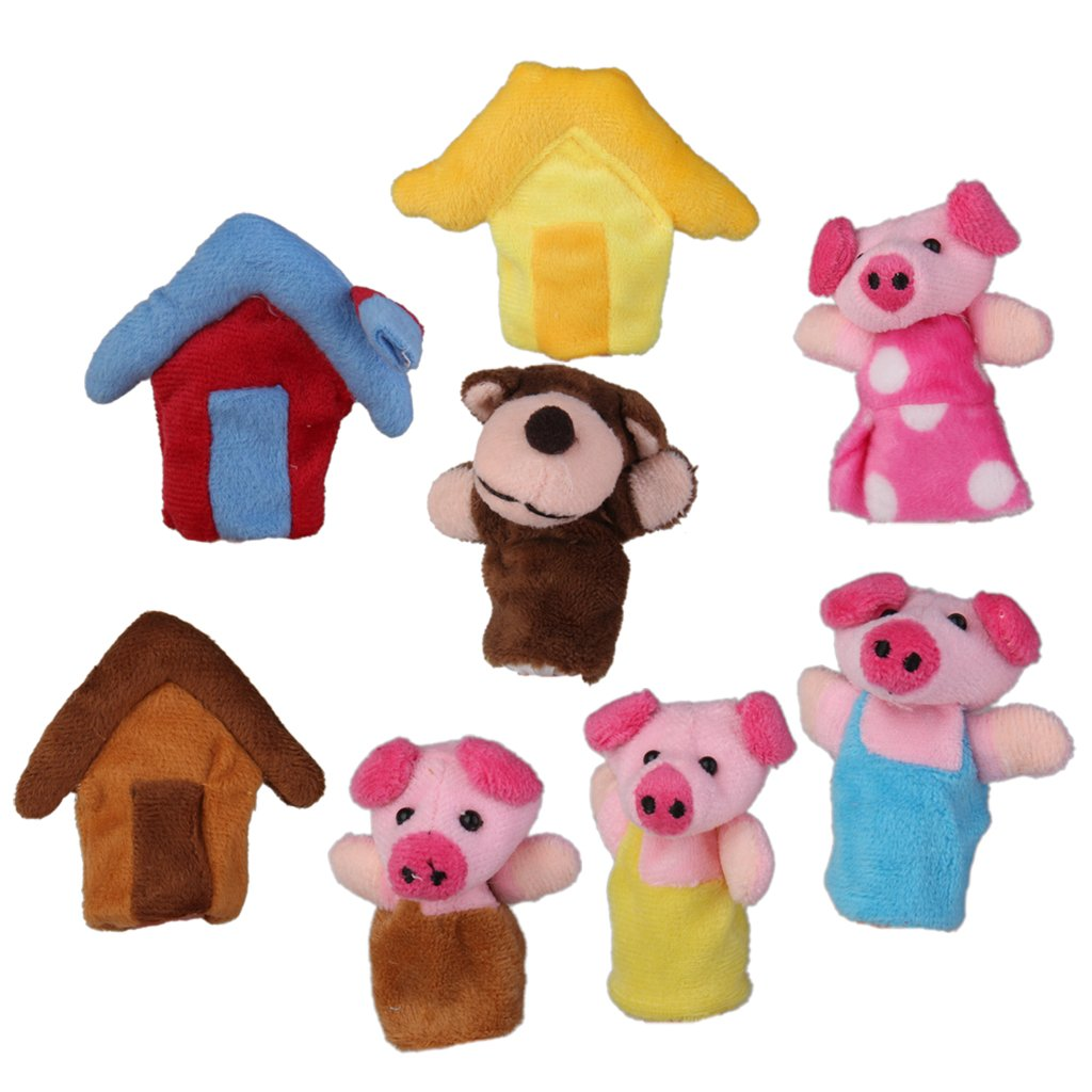 8pcs the Three Little Pigs Finger Puppets Nursery Rhyme/Fairy Tale Set