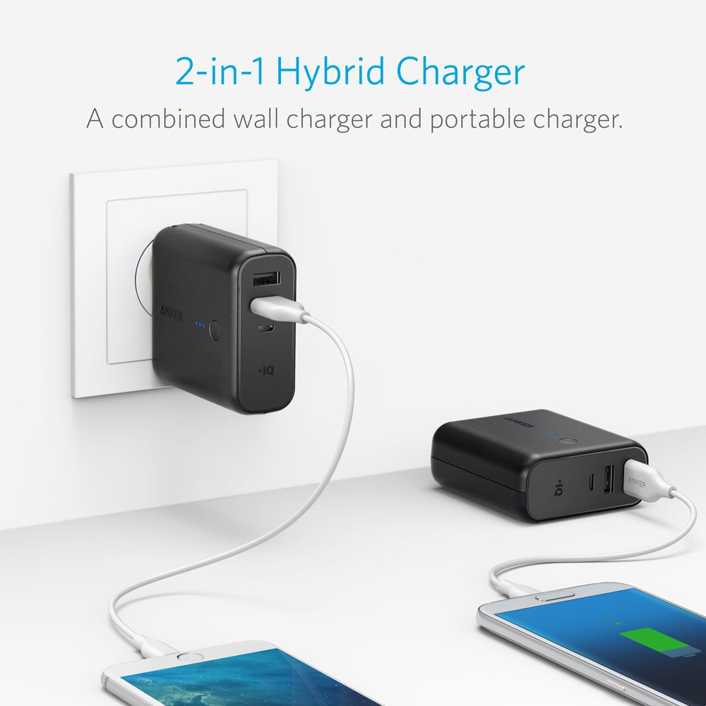 Anker Powercore Fusion Portable Charger 5000mah With Battery Lithium Variable Current Up To 2a By L200 Dual Usb Wall Foldable Plug And Poweriq Pack For Iphone Ipad Android