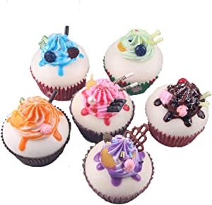 HT 6PCS Cupcake Simulation Food Artificial Fake Food Model Play Food Kids Toy Home Kitchen Party Decoration Store Market Display Photography Props, Color Random (Cupcake)