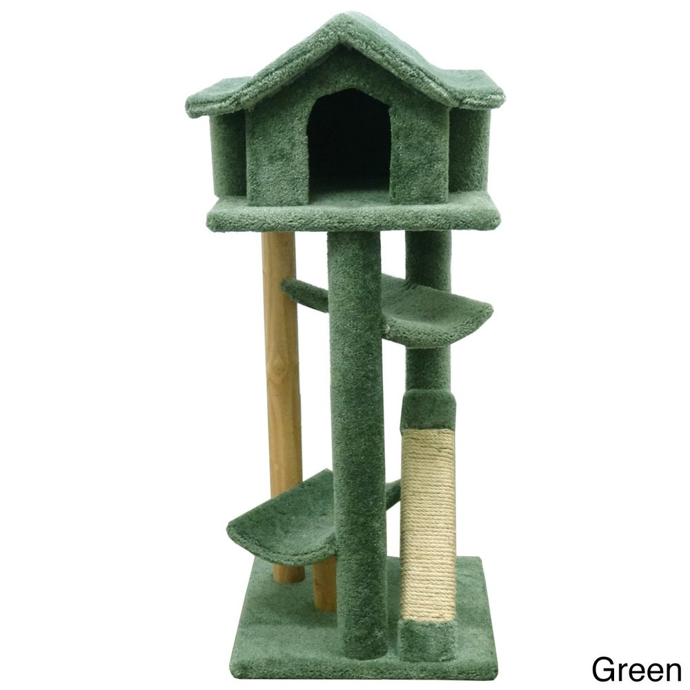 Wood Cat Furniture Part - 48: Amazon.com : Wood Cat Tower Tree For Large Cats, Green Carpet By  CatFurniture : Pet Supplies