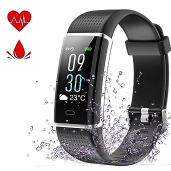YFish Montre Connecté Ecran Couleur LCD Luminosité réglable, Smart Watch Prévisions Météorologique, Fitness Tracker