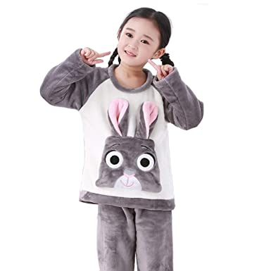 2 Piezas Navidad Animal Pijamas de Felpa de Franela Invierno Oso Elefante Conejo Cerdo Ropa de Dormir Manga Larga Tops Pantalones para Niños y Niñas: ...