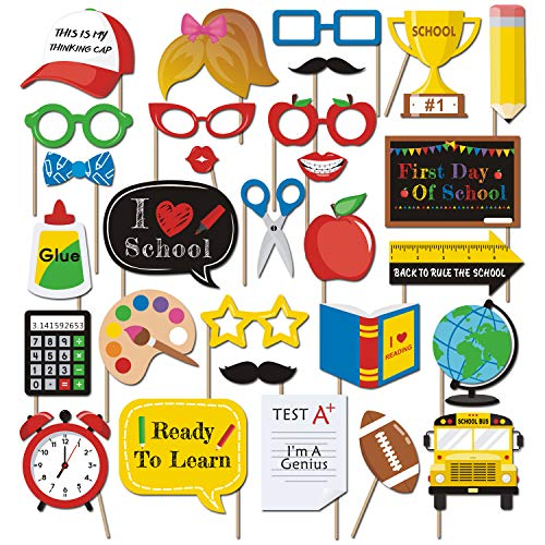Bessmoso 29 PCS Back to School Party Photo Props 2019 First Day New Grade of Class Student Teachers Welcome Back Ideas Centerpiece Decoration Supplies -