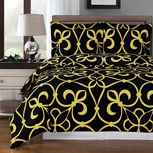 (Victoria, Deluxe and Elegant Duvet Cover Set 100% Cotton contemporary patterns shades of Bronze black gray or Tangerine Includes coordinated shams King/California King 3 Piece Set, Bronze/Black)