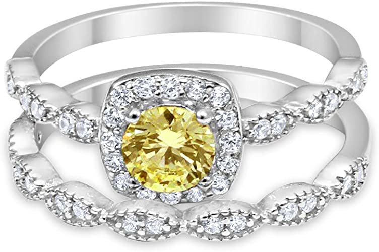 Round Canary Yellow CZ Halo 3 Three Piece Wedding Engagement Set Art Deco Ring Band Sterling Silver Round Simulated Diamond CZ
