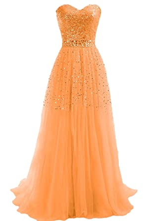 LianJie Bling Sequin Tulle Long Evening Prom Dresses Formal Gowns - Orange -