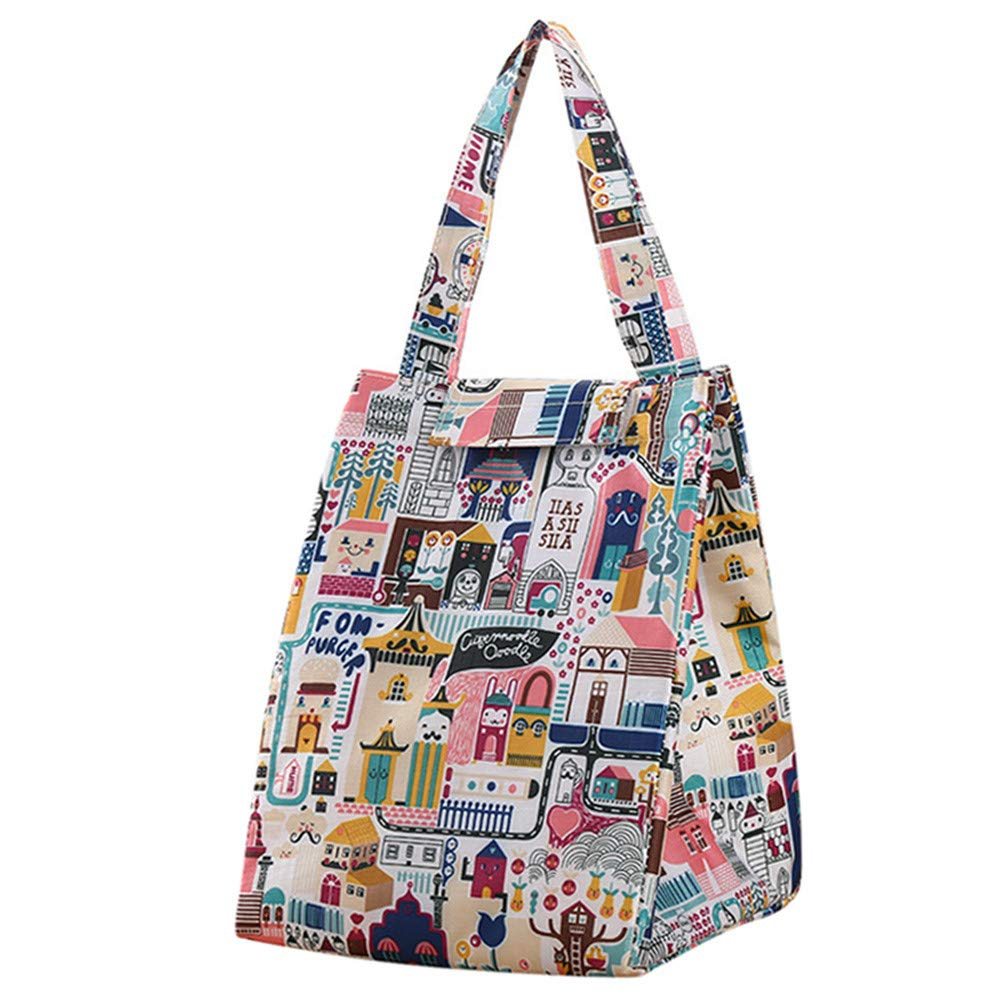 Hot!Ninasill Bohemia Cartoon Waterproof Printing Insulation Bags Thickening Lunch Bag Working School Picnic Lunch Bag