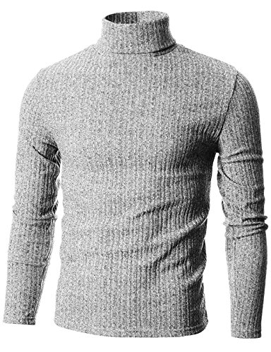 - GIVON Mens Slim Fit Wide Ribbed Cotton Blend Turtleneck Pullover/DCP036-GREY-XXL