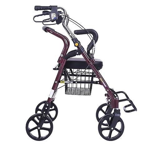 DELLT- Trolley para Ancianos Carro de Compras para Ancianos Comprar Scooter Cuatro Ruedas de aleación