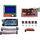 KINGPRINT Mega 2560 R3 Board + LCD12864 + Ramps 1.4 + 5pcs DRV8825 Stepper Motor Driver Module with Heat Sink for 3d printer