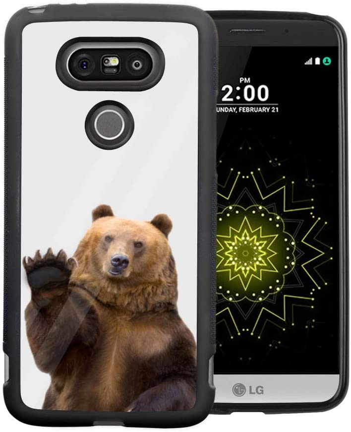 LG G5 Case - Black TPU Waterproof Full-Body Protective Cover Case Compatible with LG G5 Beautiful Brown Bear Case for LG G5