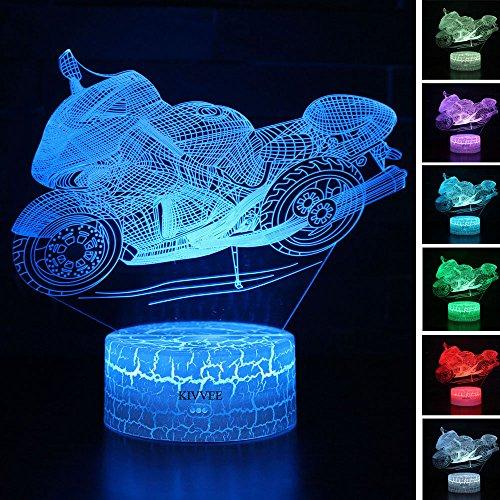 Visual 3D lamp Motorbike Illusion Night Light Festival Birthday Day Children Gift Nursery Bedroom Desk Table Decoration for Boys Kids Sports Lovers by KIVVEE