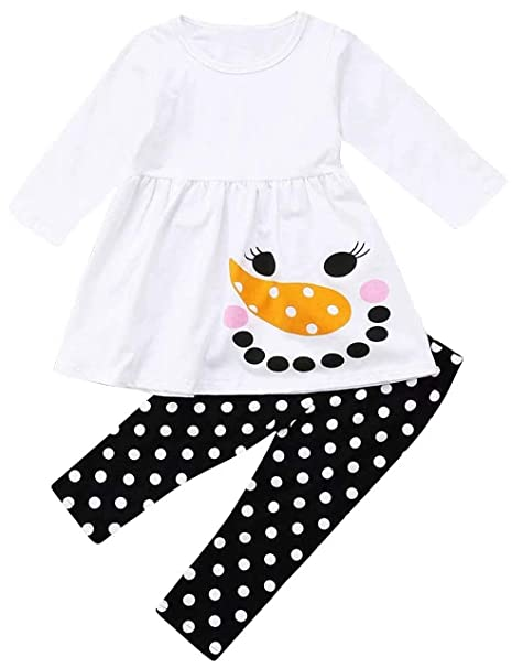 3a42f9677e7dc LOTUCY Baby Girls Christmas Snowman Ruffle Dress Top Polka Dot Leggings  Clothes Set: Amazon.ca: Clothing & Accessories