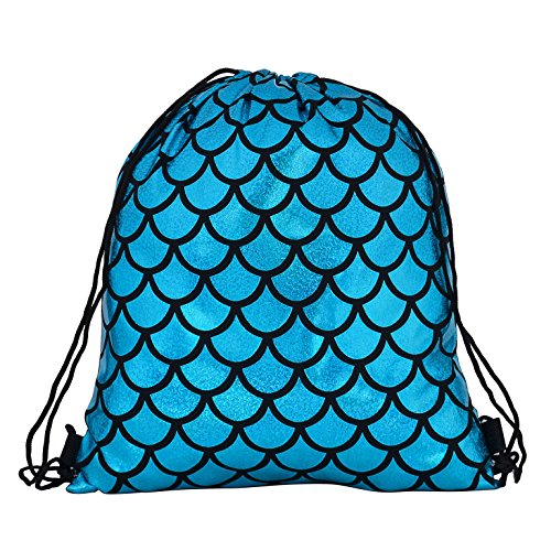 Holiday Sequin Metallic BackPack Knapsack Scale Holographic Travel Metallic Gym Turquoise Knapsack Festival Sports nOTnRqYw