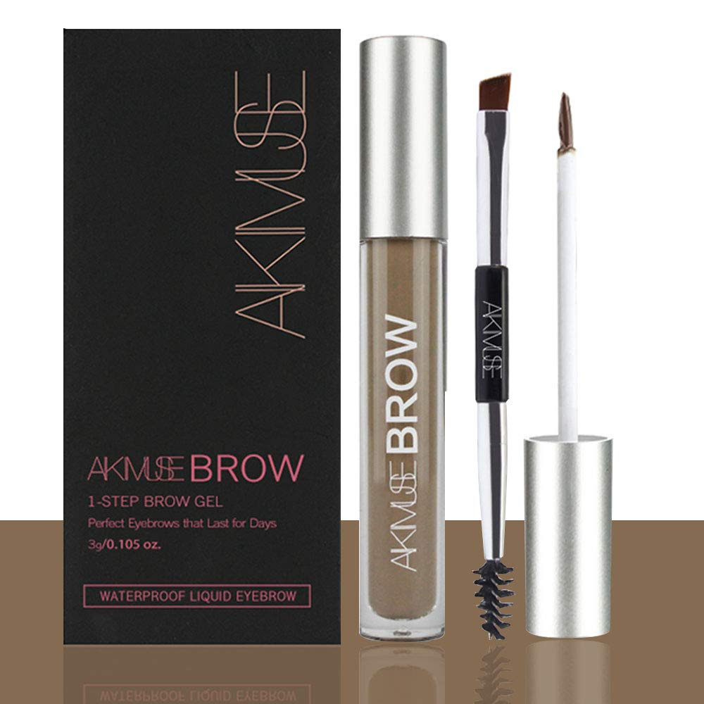 Semi-permanent Eyebrow Gel for Waterproof, Long Lasting, Smudge-Proof, Sweat Resistant, Full Natural, Tinted Makeup Brow Pen (BRUNETTE)