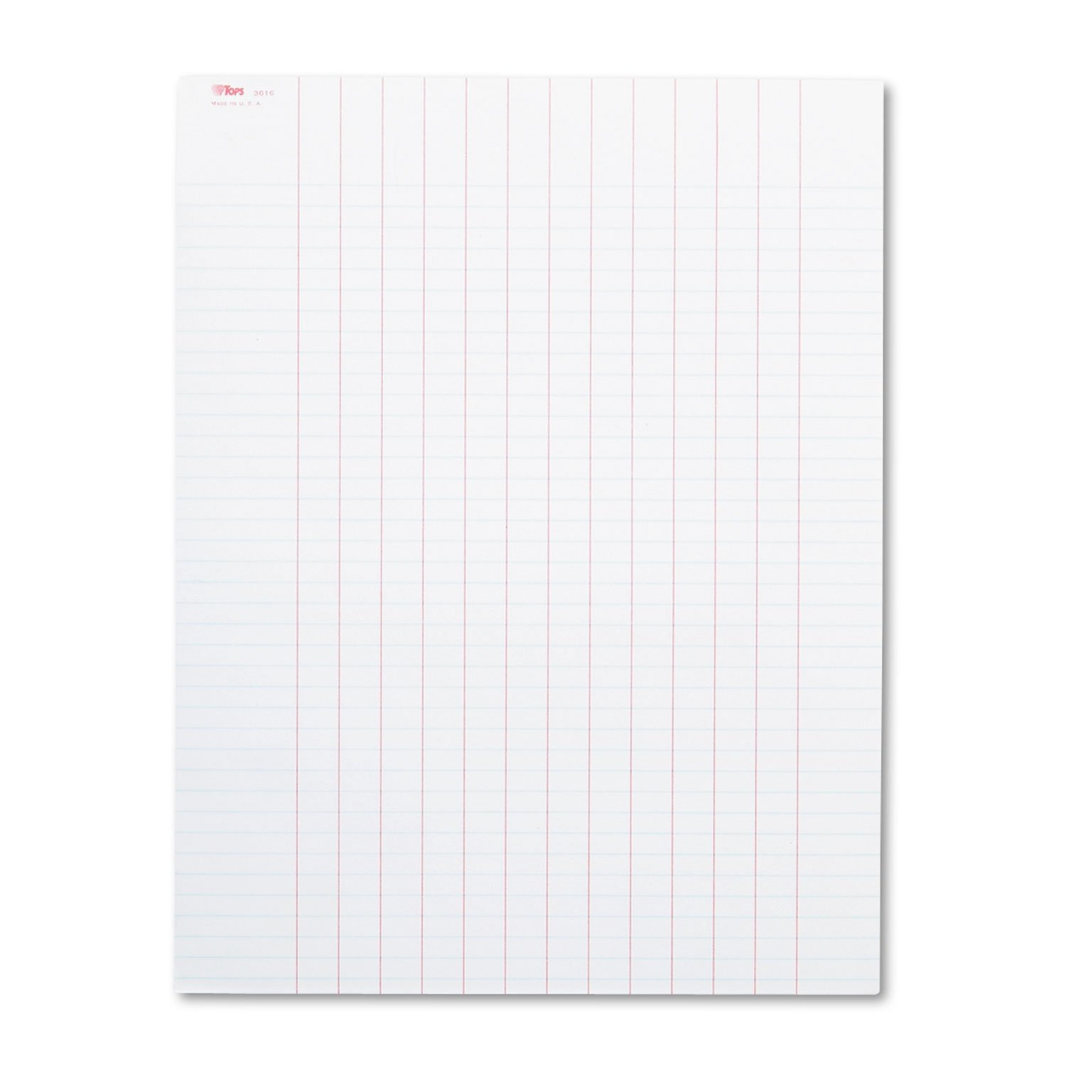 TOPS 3616 Data Pad with Plain Column Headings, 8 1/2 x 11, White, 50 Sheets