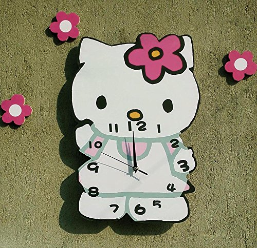 YOURNELO Cute Cartoon Hello Kitty Wall Clock for girls (A)
