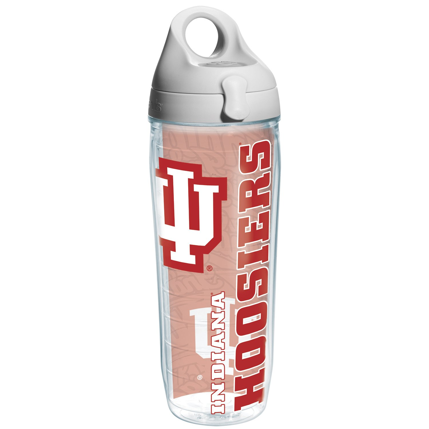 Tervis Indiana University Of College Pride Water Bottle with Grey Lid, 24 oz, Clear