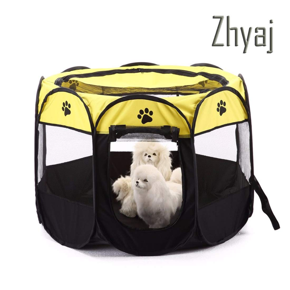 B Zhyaj Dog Kennel Outdoor, 8-Side Foldable Breathable Pets Dogs Tent Easy Operation Octagonal Fence Pets Cage Dog Bed Outdoor Extra Large Dog House Guinea Pig Cage,B
