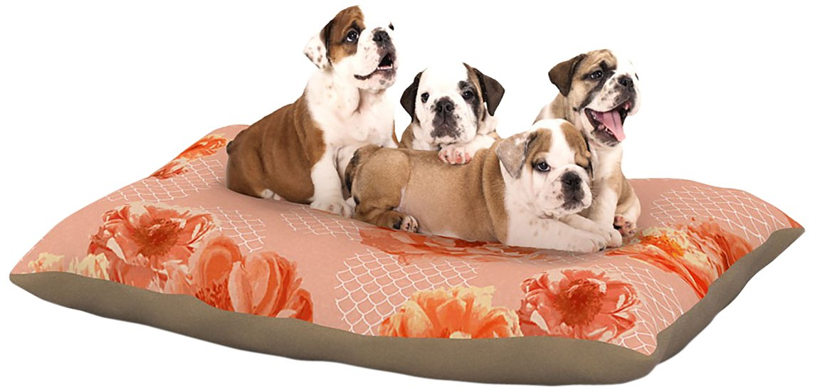 Lace Peony Large 30\ Lace Peony Large 30\ Kess InHouse Pellerina Design Lace Peony  orange Floral Dog Bed, 30 by 40-Inch
