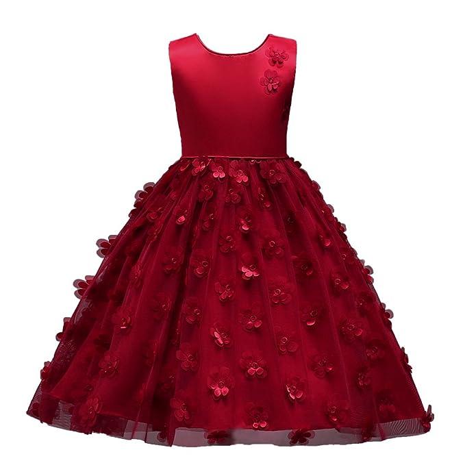 Vestido de Niña Floral Bowknot Vestido Princesa sin Mangas Vestido Bautizo Bebé Niñas Vestidos de Comunion Fiesta Del Boda Primavera Verano Ropa para 3-8 ...