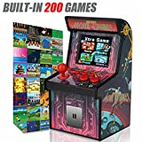 Kids Mini Retro Arcade Game Cabinet Machine with 200 Handheld Video Games-2.5'' Display-Joystick and Buttons Game Player for Boys Children Travel Portable Gaming Electronic Novelty Toys (Retro Red)